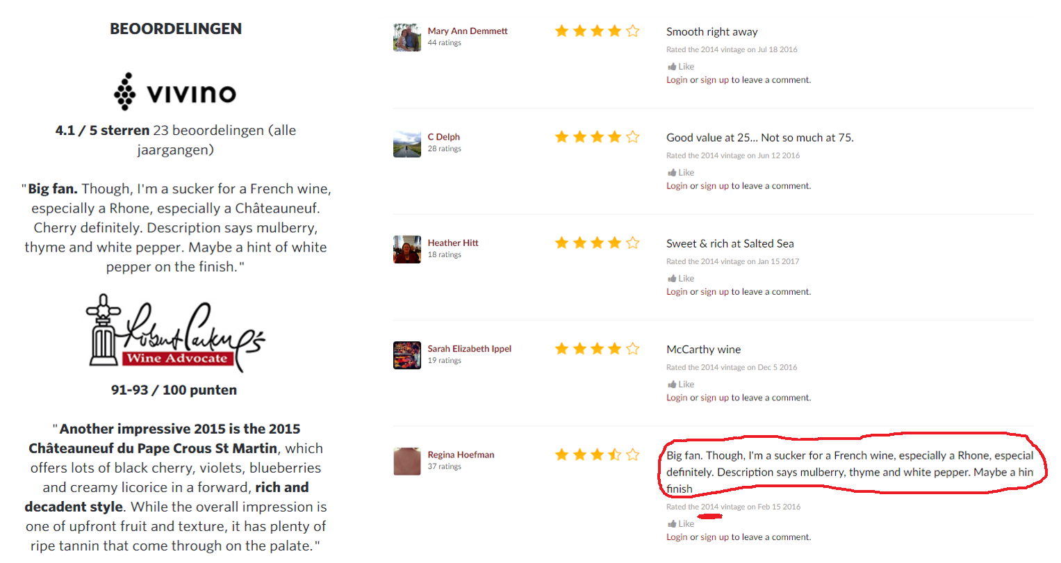 Vivino rating 2015 - 2014